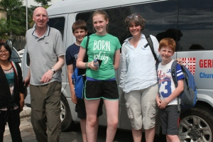 The Robbies with Agnes and the church minibus
