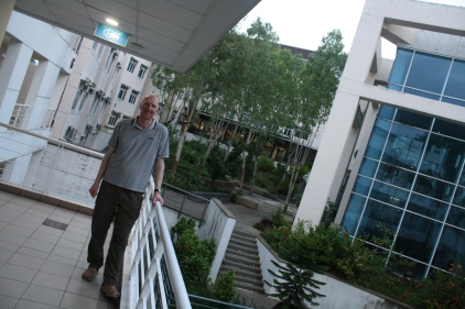 Trinity Theological College Singapore - the courtyard from the walkway outside our apartment. The library is the blue glazed building on the right.
